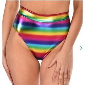 iHeartRaves High Waisted Metallic Booty Shorts